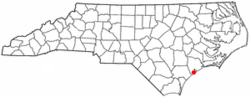 Location of North Topsail Beach, North Carolina
