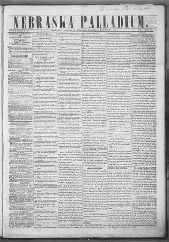 Nebraska Territory - The front page of the December 6, 1854 issue of the Nebraska Palladium, the first newspaper to be published in the Nebraska Territory.