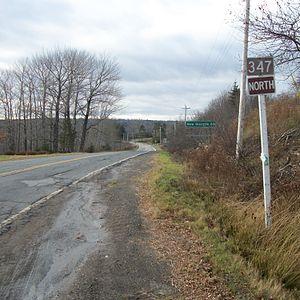 Nova Scotia Route 347 - Route sign in Aspen, Guysborough County, Nova Scotia near its junction with Trunk 7