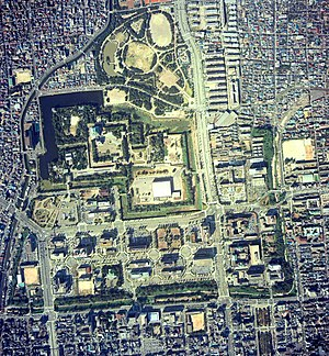 Nagoya Castle - Aerial view of the grounds of Nagoya Castle