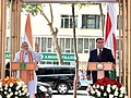 Narendra Modi addressing the gathering after unveiling the bust of Gurudev Rabindranath Tagore, at Bukhoro Square, in Dushanbe, Tajikistan on July 13, 2015. The President of Tajikistan, Mr. Emomali Rahmon is also seen.jpg