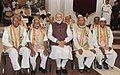 Narendra Modi with the Freedom Fighters, during the 'At Home' function, hosted by the President, Shri Ram Nath Kovind, on the occasion of 75th Anniversary of the Quit India Movement, at Rashtrapati Bhavan, in New Delhi (1).jpg