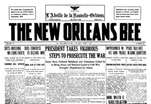 The New Orleans Bee - Image: New Orleans Bee 1917 04 07 frontpage