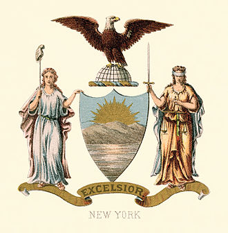 Seal of New York - Historical coat of arms, illustrated (1876)