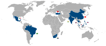 Countries considered NICs as of 2007. From left: Mexico, Brazil, South Africa, Turkey, India, China, Thailand, Malaysia, Philippines