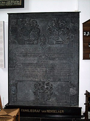 Kiliaen van Rensselaer (merchant) - Rensselaer family gravestone in the church of Nijkerk, that Kiliaen bought commemorating his father Hendrick and uncle Johan. He probably purchased this when his first wife died, as her family name, Byllaer, is on the stone in the lower right. Kiliaen named his sons Hendrick and Johan after these men.