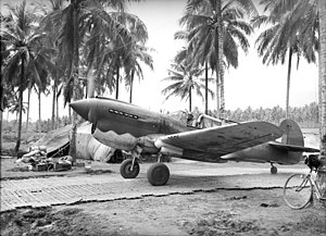 No. 75 Squadron RAAF - A No. 75 Squadron Kittyhawk at Milne Bay in September 1942