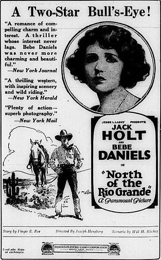 Vingie E. Roe - An advertisement for North of the Rio Grande (1922), crediting Vingie E. Roe for the story