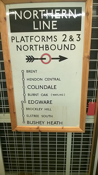 Northern line - Sign displaying the route of the Northern Heights extension