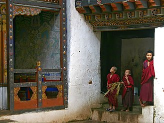 Wangdue Phodrang District - Buddhist novices in Wangdue Phodrang Dzong, Bhutan