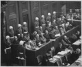 Nuremberg Trials. Looking down on defendants dock, circa 1945-1946. - NARA - 540127.tif