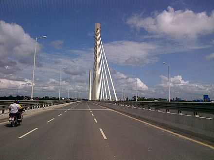 Nyerere Bridge in Kigamboni, Dar es Salaam, is Tanzania's (and East Africa's) only suspension bridge. Nyerere Bridge - Kigamboni .jpg