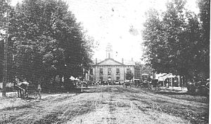 Alamance County Courthouse - The original Alamance County Courthouse, circa 1910. Note the cupola that housed the bell.