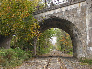 Lackawanna Old Road - Old Road passing beneath the Delaware River Viaduct near Slateford, Pennsylvania