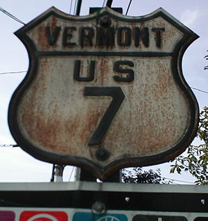 U.S. Route 7 in Vermont - Original-style Vermont US 7 shield with embossed features