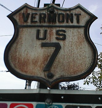 U.S. Route shield - Original-style Vermont US 7 shield with embossed features