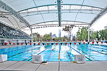 olympic swimming pool and starting blocks used for the 2006 commonwealth games in melbourne australia
