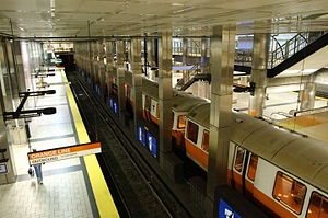 North Station - An Orange Line train at North Station in 2006