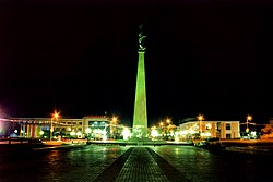 Night view of New Memorial in Ordabasy Square