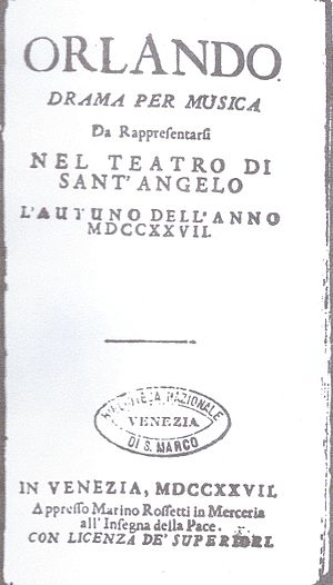 Orlando furioso (Vivaldi) - Libretto: title page of the original edition (1727)