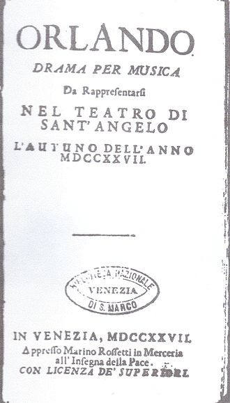 Orlando furioso (Vivaldi) - Libretto: title page of the original edition (1727)