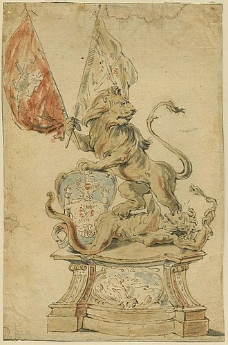 Ostend Company - Drawing showing the solid gold lion of Ostend