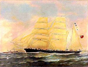 Joseph Conrad's career at sea - Barque Otago, captained by Conrad in 1888 and first three months of 1889