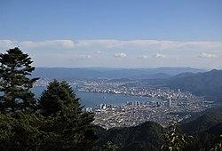 Otsu at the south end of Lake Biwa in Shiga prefecture.jpg