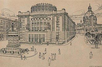 Karlsplatz - Otto Wagner's design for the redevelopment of the Charles Square and the establishment of Emperor Franz Joseph City Museum, now home of the Vienna Museum (1909)