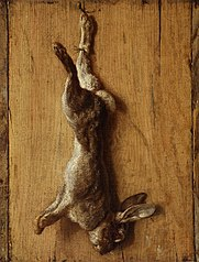 Trompe l'oeil with dead hare.