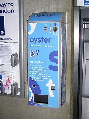 Oyster card - Oyster card vending machine, installed at London Bridge station in December 2006. All machines of this design have been phased out.