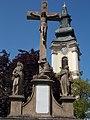 Pálinkás Cross. Listed ID 5935 (detail) and Our Lady Church Listed ID 5938. - Szentháromság Sq., Jászberény, Hungary.JPG