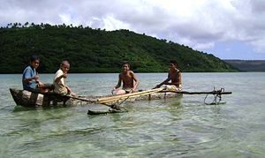 Outrigger canoe - The traditional pōpao of Tonga.