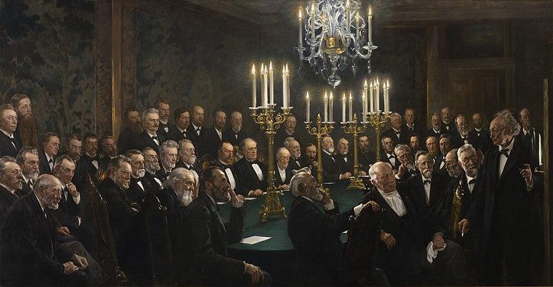File:P.S. Krøyer, Et møde i Videnskabernes Selskab, 1897, Det Kongelige Danske Videnskaberners Selskab.jpg