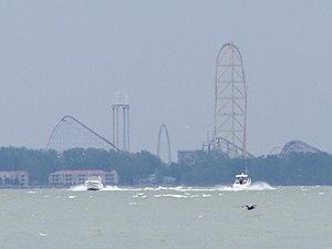 Sandusky, Ohio - View of Cedar Point from Lake Erie