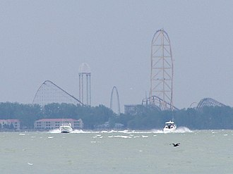 Sandusky, Ohio - View of Cedar Point from Lake Erie