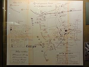 Polish–Czechoslovak War - Image: POL Cieszyn Muzeum ŚC Mapa bitwy skoczowskiej