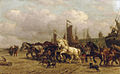 Paarden trekken bomschuit Scheveningen Willem Carel Nakken.jpg