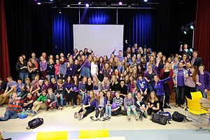 Spirit Day - Students of Het Baarnsch Lyceum dressed in purple on Paarse Vrijdag 2013