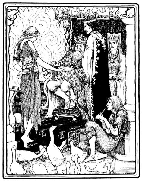 Illustration by John D. Batten, 1894. A girl in tattered clothes stands before a king and queen seated on thrones. A Prince stands next to her. At her feet, a man in fur clothes watches a herd of geese and plays a flute.