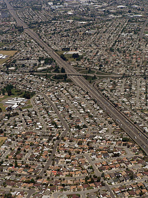 Mount Eden, California - historic location of Mount Eden, currently the intersection of Interstate 880 (vertical freeway) and State Route 92 (second overpass from top of photo)