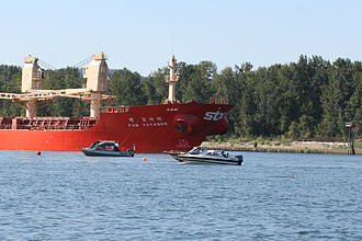 Willamette River - Ocean-going cargo ship anchored at the mouth of the Willamette