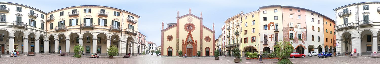360 degree panorama San Donato square in Pinerolo.