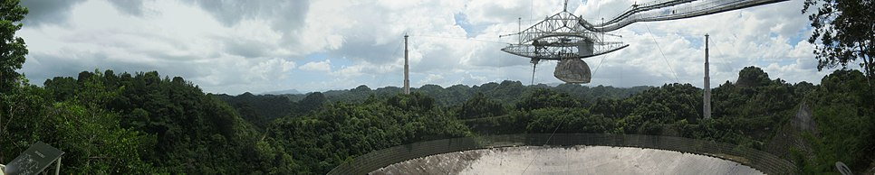 The Arecibo Radio Telescope as viewed from the observation deck, October 2013
