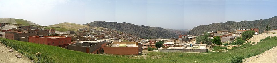Panoramic view of typical Berber village (Morocco - High Atlas Mountains)