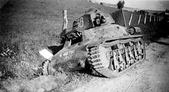 Main battle tank - Abandoned French Hotchkiss H-35 light cavalry tank, Battle of France, 1940