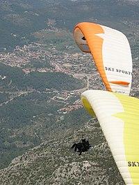Paragliding near Parascending, Oludeniz, Turkey 05-2004.jpg