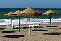 Parasols, beach furniture, Beach, Rincon de la Victoria, Andalusia, Spain.jpg