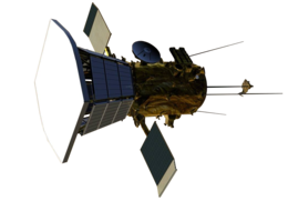 Digital model of a spacecraft with a bus attached to a larger sun-shield. Two small solar panels are attached to the side of the bus, along with four rear-facing antennas.