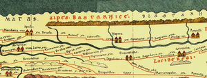 Part of Tabula Peutingeriana centered around present day Transylvania